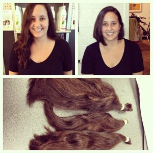 Before and after along with an awkward shot of the hair they cut off to send to Locks of Love