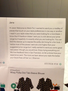 A personalized note from my stylist, Shannon