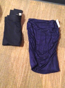 Renee C Alondra Ruched Pencil Skirt & Rune Porter Basic Legging (Initial thoughts: how did these random pieces of fabric accidentally end up in my Stitchfix box?)
