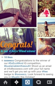The lovely message from the sxsweco Instagram account announcing I won the little contest!