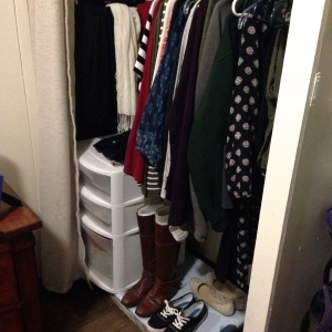 The smaller of the two closets in my apartment was all I needed to store every article of clothing I wore for a month. I love how easy it was to access everything. I only went into my larger closet a few times this month!