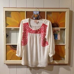 Skies are Blue Sia Florl Embroidery Peasant Top Price: $58 Problems: It's a little big, but in a cute way
