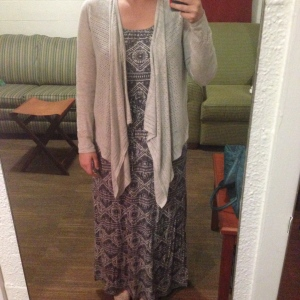 Not the more form-fitting outfit, but my maxi and sweater are a good combo for a cooler day in SoCal