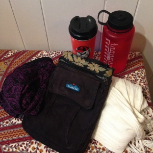 "Some of the ""extras"" I brought along: water bottle, travel tumbler, purse, bathing suit"