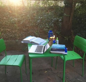 My sweet porch area, which has seen a lot of dissertation writing and a normal amount of wine drinking